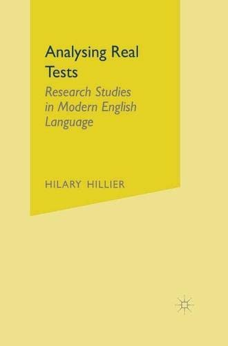 9780333584712: Analysing Real Texts: Research Studies in Modern English Language