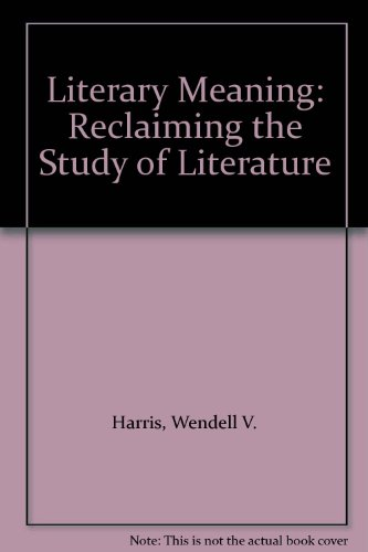 9780333640142 Literary Meaning Reclaiming The Study Of Literature