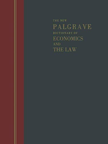 9780333676677: The New Palgrave Dictionary of Economics and the Law