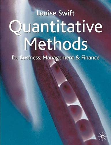 9780333920756: Quantitative Method for Business, Management and Finance