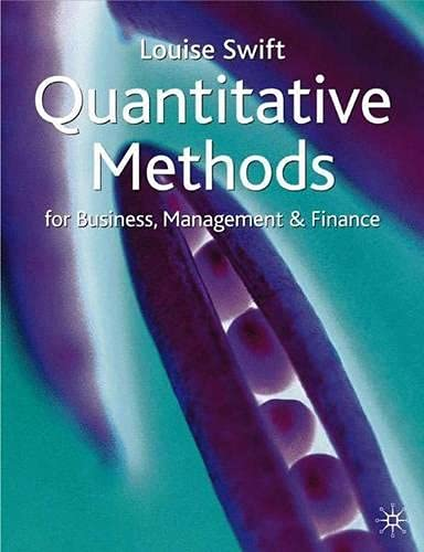 9780333920763: Quantitative Methods for Business, Management and Finance