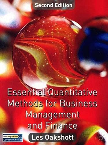 9780333985762: Essential Quantitative Methods for Business, Management and Finance