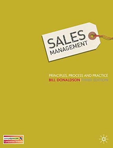 9780333998519: Sales Management: Principles, Process and Practice