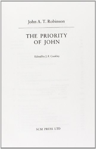 9780334022732: The Priority of John