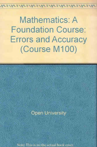 9780335010011: Mathematics: Errors and Accuracy Unit 2: A Foundation Course (Course M100)