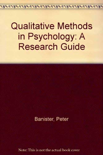 Qualitative Methods in Psychology: A Research Guide: Tindall, Carol, Taylor,