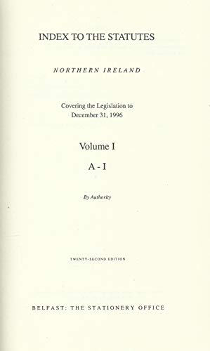 Index to the Statutes 1996: Covering the: Statutory Publications Office