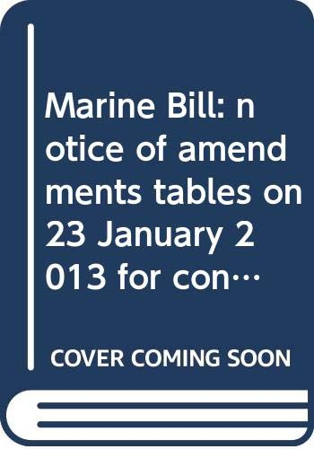 Marine Bill: Notice of Amendments Tables on: Northern Ireland: Northern