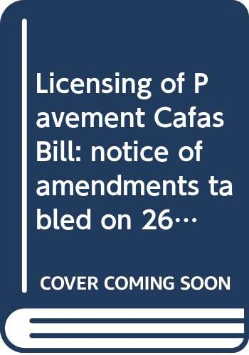 Licensing of Pavement Cafas Bill: Notice of: Northern Ireland: Northern