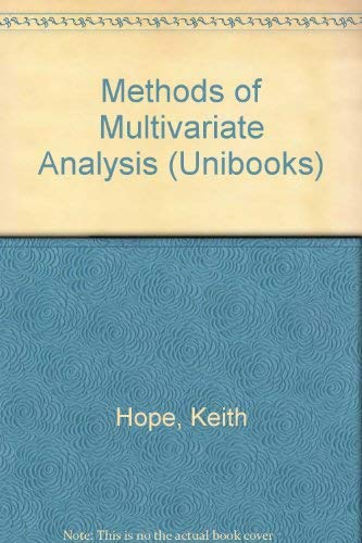 9780340073315 - Hope, K.: Methods of Multivariate Analysis - Livre
