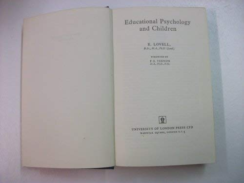 9780340087244: Educational Psychology and Children