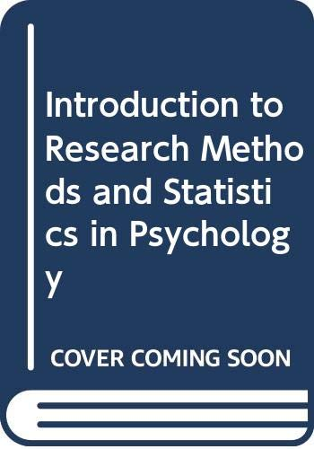 9780340627365: Introduction to Research Methods and Statistics in Psychology