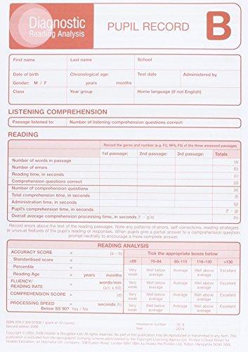9780340976081: Diagnostic Reading Analysis (DRA) Pupil Record Sheet B
