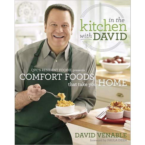 In the Kitchen with David 9780345541215 This is David Venable's debut cookbook. In it he shares 150 delicious recipes of hearty, easy-to-make, comforting dishes, with recipes for everything from appetizers and breads to soups to desserts. You'll find ideas for quick everyday dinners as well as slow cooking suppers. Venable's favorites include: Chicken Nachos, Cheddar-Broccoli Poppers, Cheesy Crab-Stuffed Mushrooms, Scrumptious Hush Puppies, Breaded Pork Cutlets, Chicken Marsale, Braised Beef Short Ribs, Deep-dish Apple Pie & Banana Pudding Cheesecake. This book is filled with gorgeous photographs, helpful  Dishin' with David  tips, & personal anecdote. It will encourage you and your family to gather around the dinner table for great meals, and more importantly, great memories. This special edition features a bonus section:  An Extra Helping of Fun: Behind the Scenes with David Venable,  which also includes celebration menus and additional recipes.