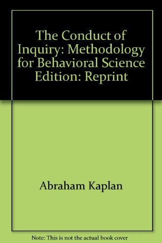 9780352117007: The Conduct of Inquiry: Methodology for Behavioral Science Edition: Reprint