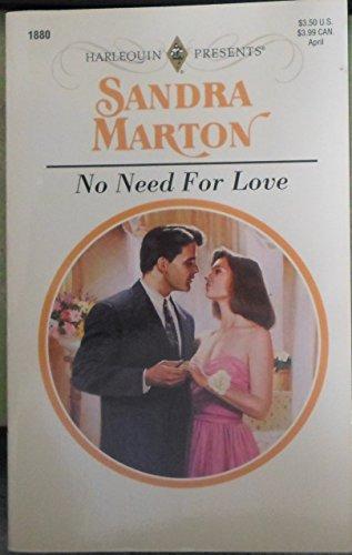 No Need for Love (Harlequin Presents, No 1880): Marton, Sandra