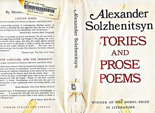 Stories and Prose Poems: Solzhenitsyn, Aleksandr; Glenny, Michael (translator)