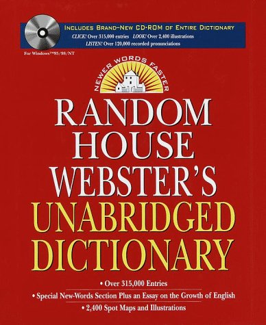 9780375403835: Random House Webster's Unabridged Dictionary and CD-ROM Version 3.0
