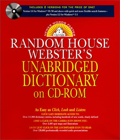 9780375403910: Random House Webster's Unabridged Dictionary (Version 3.0 for Windows 95/98/NT & Version 2.2 for Windows 3.1)