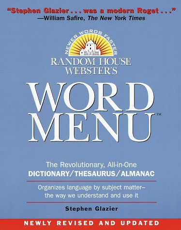 9780375700835: Random House Webster's Word Menu (Random House Newer Words Faster)