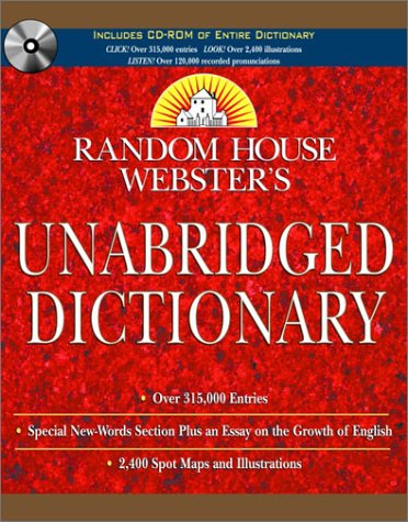 9780375720260: Random House Webster's Unabridged Dictionary Book & CD-ROM Set