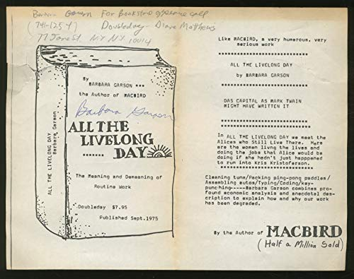 9780385057226: Title: All the Livelong Day The Meaning and Demeaning of
