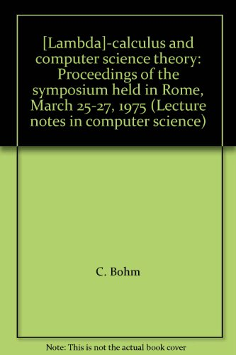 Lambda]-calculus and computer science theory: Proceedings of: n/a