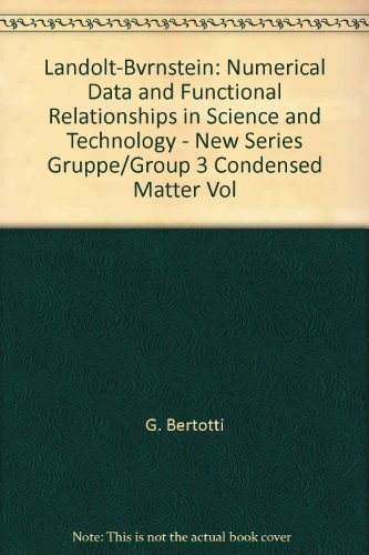 9780387555904: Landolt-Bvrnstein: Numerical Data and Functional Relationships in Science and Technology - New Series Gruppe/Group 3 Condensed Matter Vol