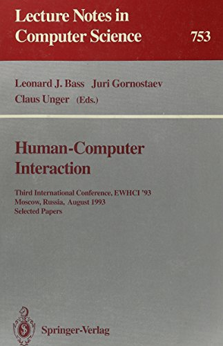 Human-Computer Interaction Third International Conference EWHCI '93, Moscow, Russia, August 3-...