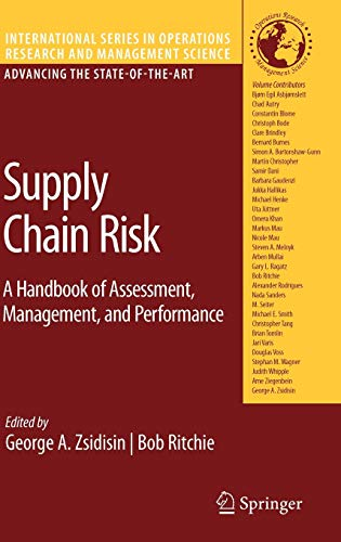 9780387799339: Supply Chain Risk: A Handbook of Assessment, Management, and Performance