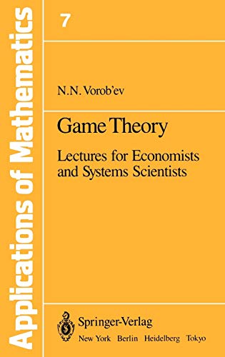 9780387902388: Game Theory: Lectures for Economists and Systems Scientists (Stochastic Modelling and Applied Probability)