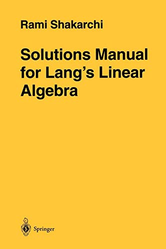 9780387947600: Solutions Manual for Lang S Linear Algebra