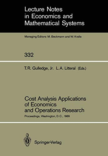 Cost Analysis Applications of Economics and Operations