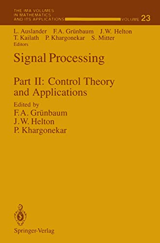 Signal Processing, Part II: Control Theory and: Louis Auslander, F.