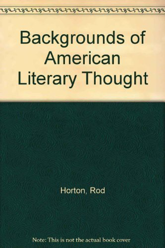 9780390461322: Backgrounds of American Literary Thought