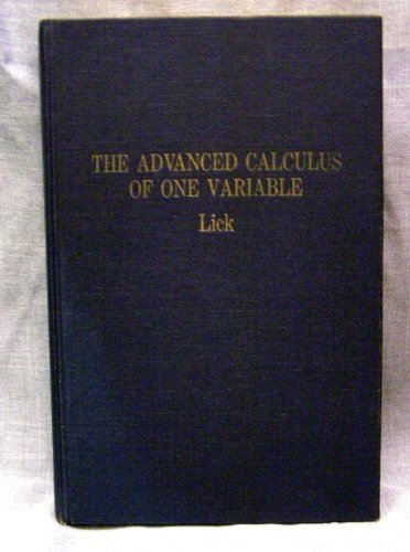 9780390557438: The advanced calculus of one variable (The Appleton-Century mathematics series)