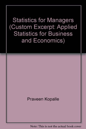 9780390805515: Statistics for Managers (Custom Excerpt: Applied Statistics for Business and Economics)