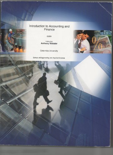 9780390988829: Introduction to Accounting and Finance E2261 (Columbia University)