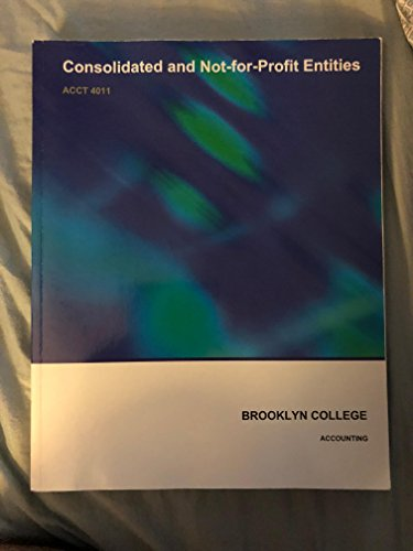 9780390998101: Consolidated and Not for Profit Entities (Brooklyn College Economics Department, ACCNT 11)