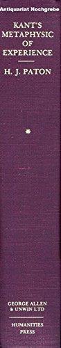 Kant's Metaphysics of Experience (2 vols.): Paton, H.J.