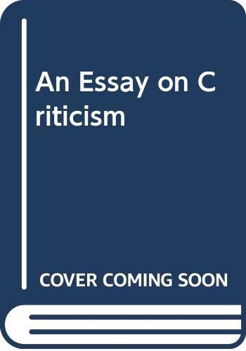 An Essay on Criticism [Paperback] by Graham