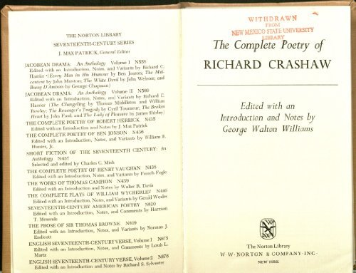 9780393007282: Complete Poetry of Richard Crashaw (The Norton Library Seventeenth-Century Series, N728) (English, Ancient Greek, Italian and Latin Edition)