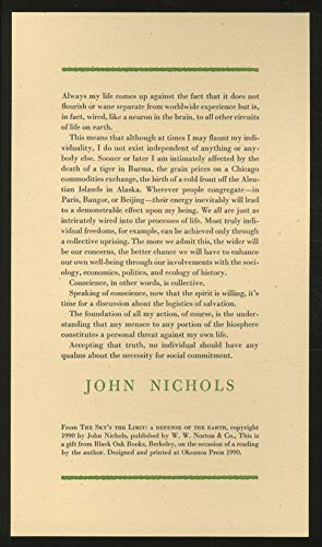 The Sky's the Limit: A Defense of the Earth: Nichols, John, Text and Photographs By
