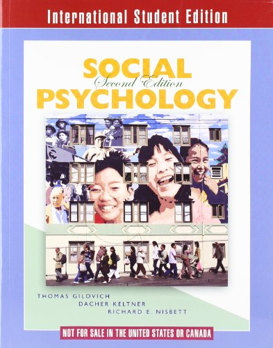 9780393117370: Social Psychology (Second International Student Edition)