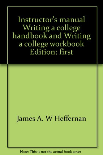 9780393951813: Instructor's manual, Writing, a college handbook and Writing, a college workbook