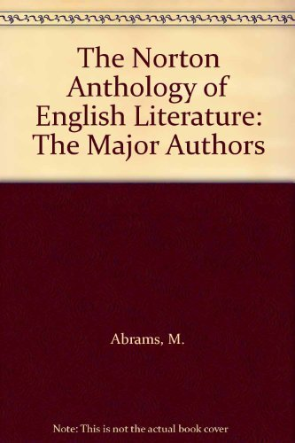 9780393968071: the Norton Anthology of English Literature: Sixth Edition, the Major Authors