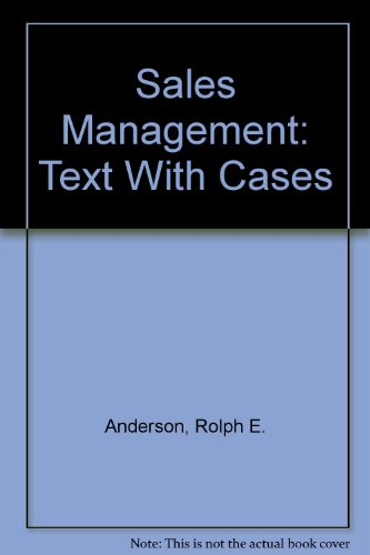 Sales Management: Text With Cases: Anderson, Rolph E.;