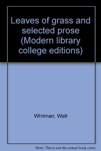9780394326610: Title: Leaves of Grass and Selected Prose Modern Library