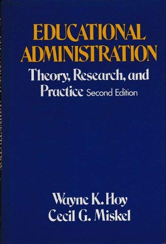 9780394328874: Educational Administration: Theory, Research, and Practice