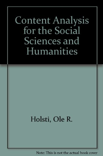 9780394349268: Content Analysis for the Social Sciences and Humanities